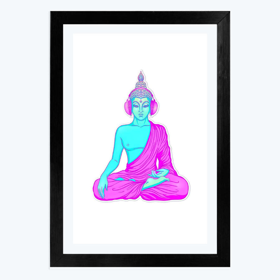 Buddha listening to music in headphones Framed Poster