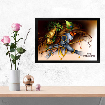 Krishna Spritual Glass Framed Posters & Artprints