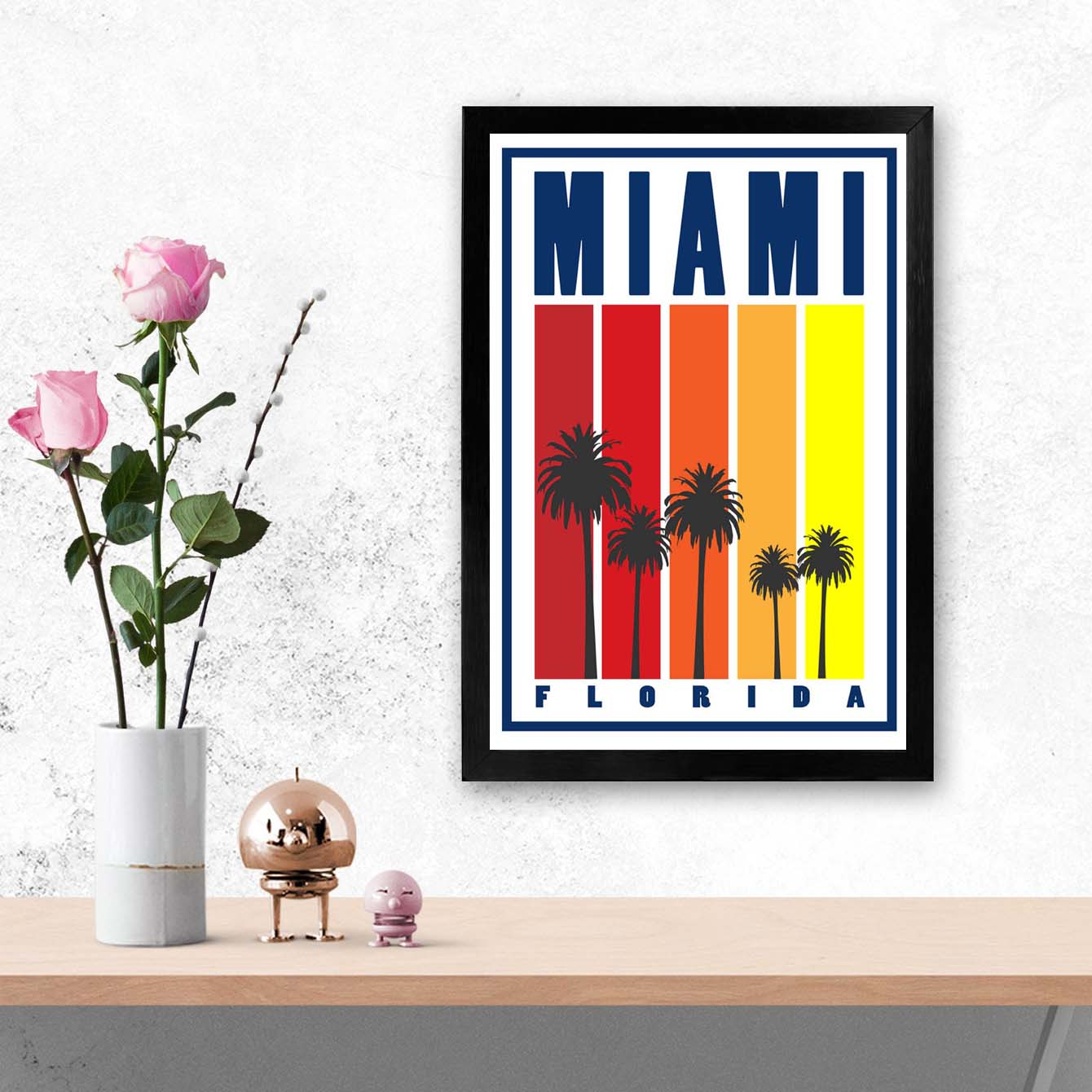 MIami Cities Glass Framed Posters & Artprints