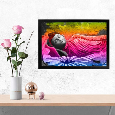 Colorful Buddha Spritual Glass Framed Posters & Artprints