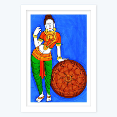 Lady with Wheel Framed Poster