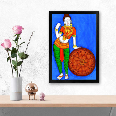 Lady with Wheel Painting Glass Framed Posters & Artprints