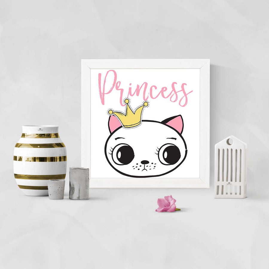 Princess Bunny Cartoon Glass Framed Posters & Artprints