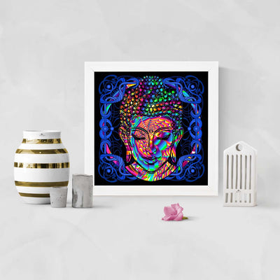 Colorful Abrrstract Buddha Framed Poster