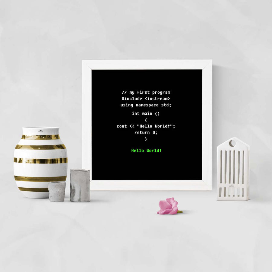 Coding Hello World! Education Glass Framed Posters & Artprints