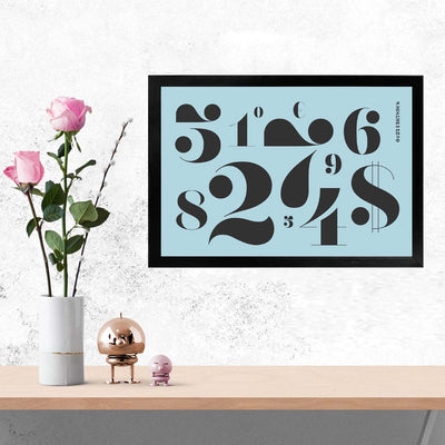Numbers Typography Glass Framed Posters & Artprints
