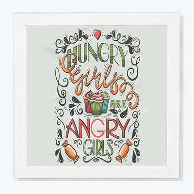 Hungry Typography Glass Framed Posters & Artprints