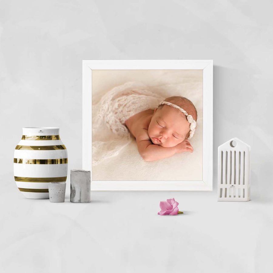 Sleeping Baby Glass Framed Posters & Artprints