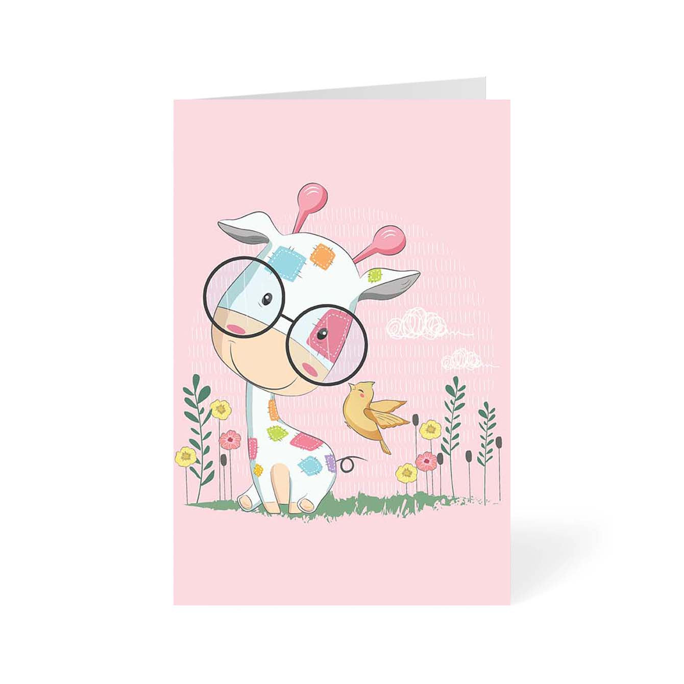 Giraffe And His Friend Animal Greeting Card Online