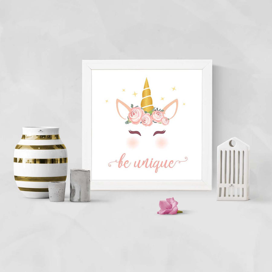 Unicorn Be Unique Cartoon Glass Framed Posters & Artprints