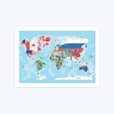 World Map with Flag Framed Poster