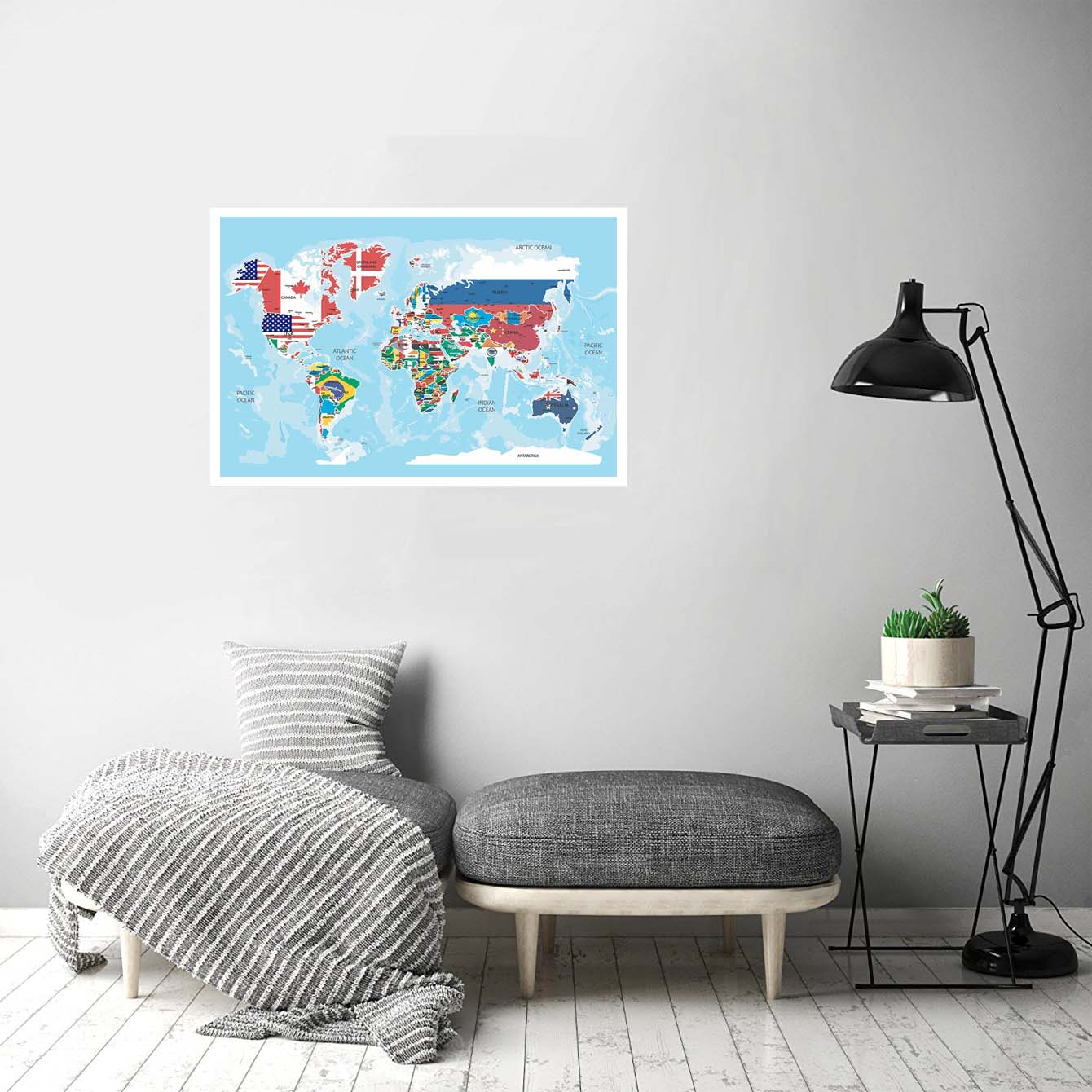 World Map with Flag Abstract Posters