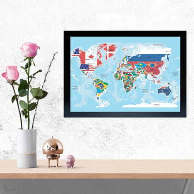 World Map with Flag Abstract Glass Framed Posters & Artprints