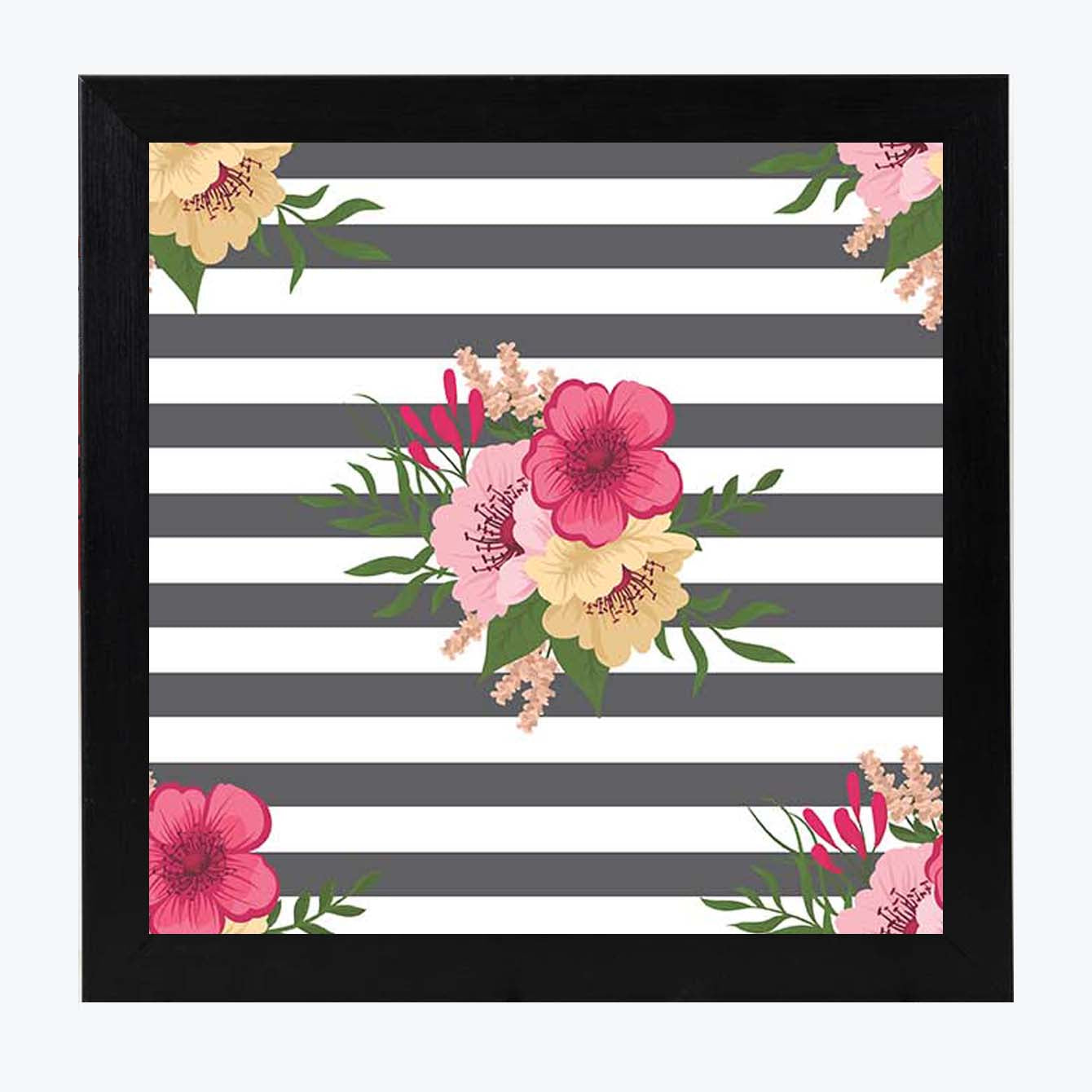Stripe Flower  Framed Poster