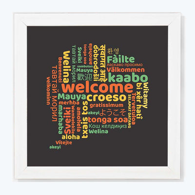 Welcome Multi Language Typography Glass Framed Posters & Artprints