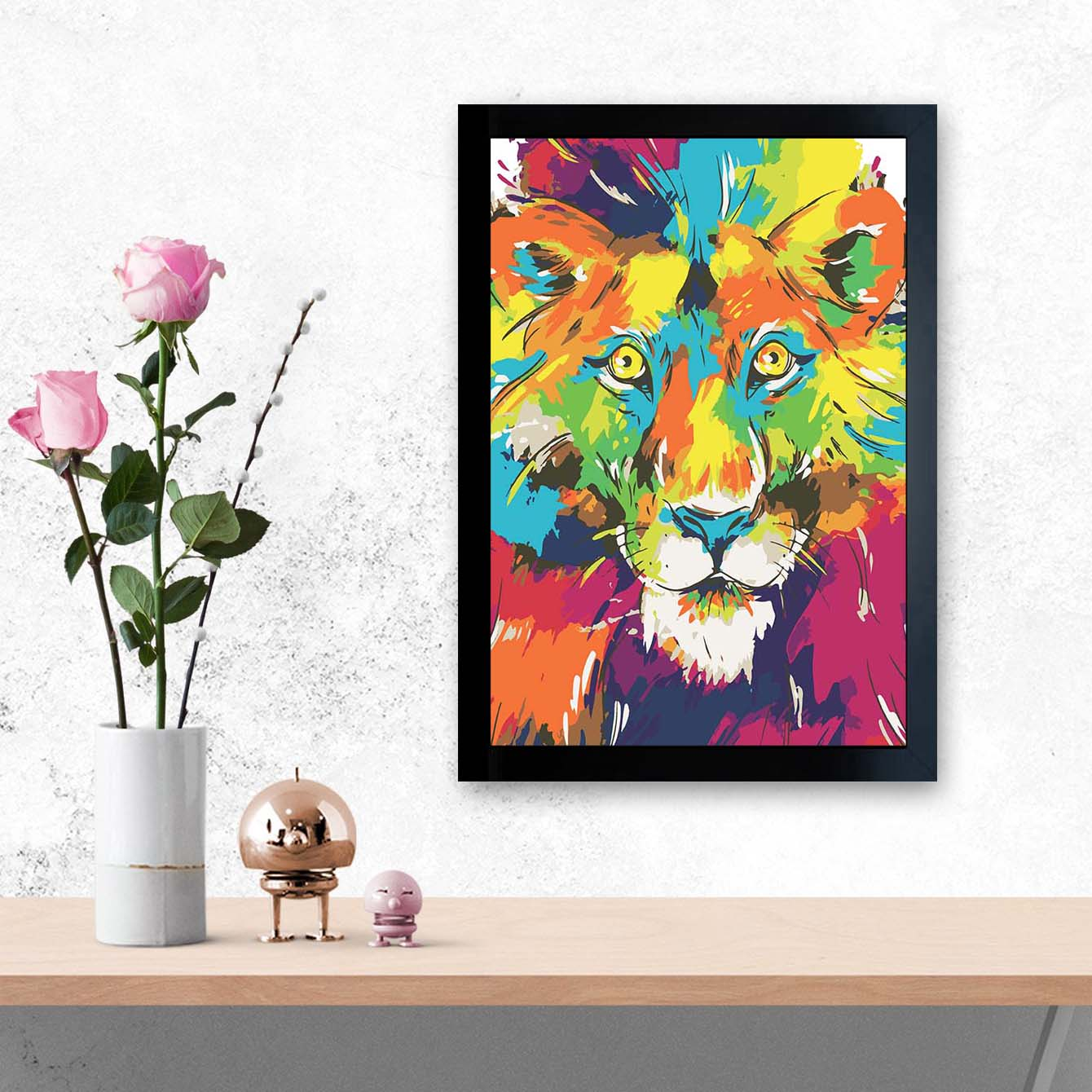 Lion Pop Art Glass Framed Posters & Artprints