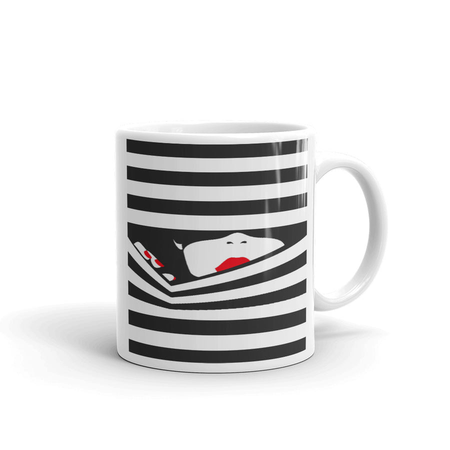 Pop Lady In Black Stripes Mug