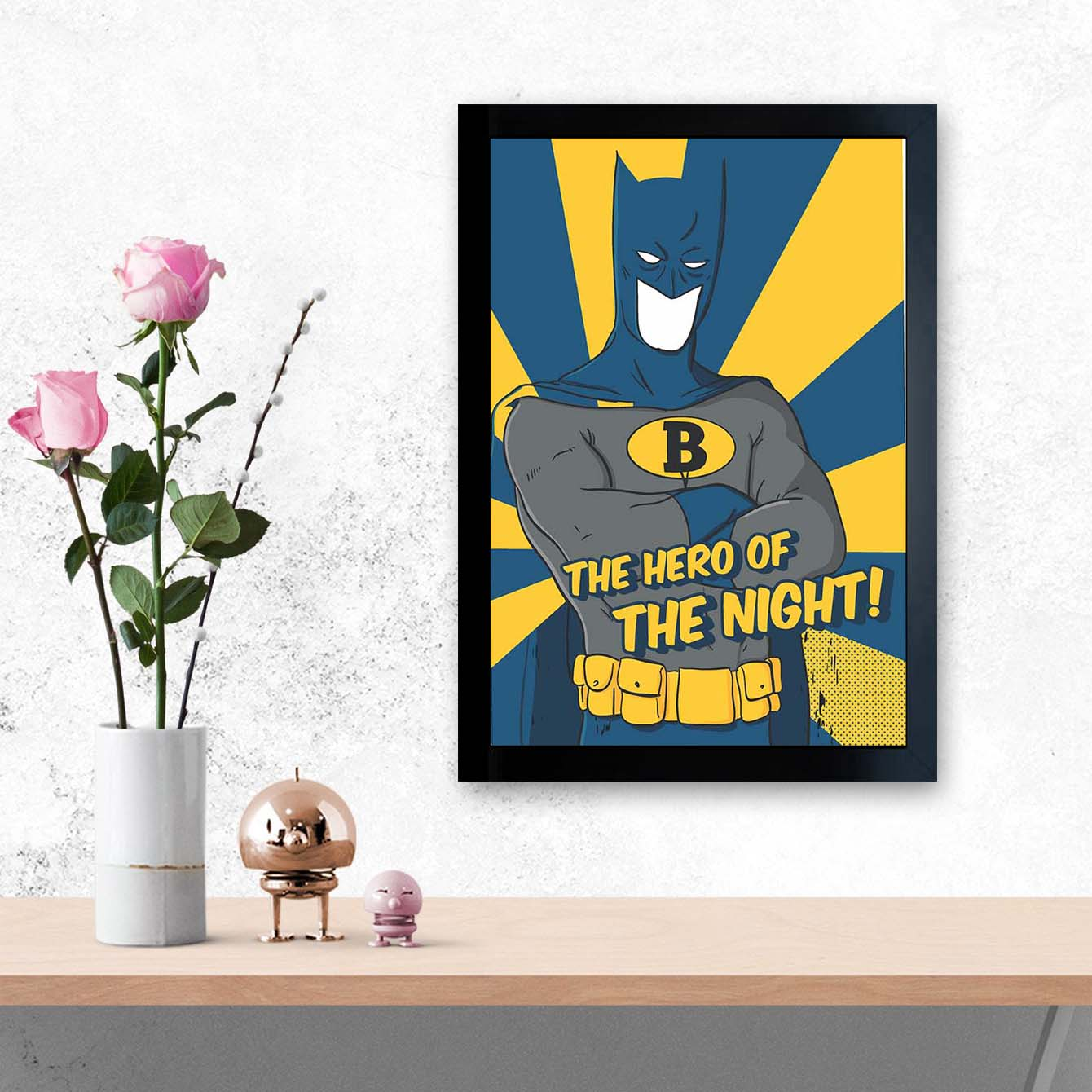 Bat Man Pop Art Glass Framed Posters & Artprints