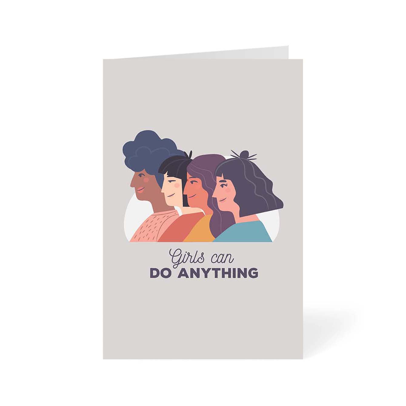 Girls Can Do Anything Pop Art Greeting Card Online