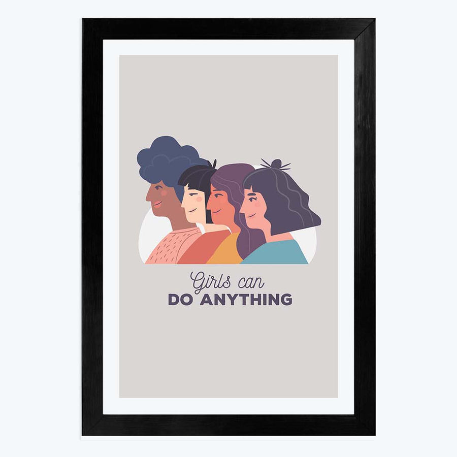 Girls Can Do Anything   Framed Poster