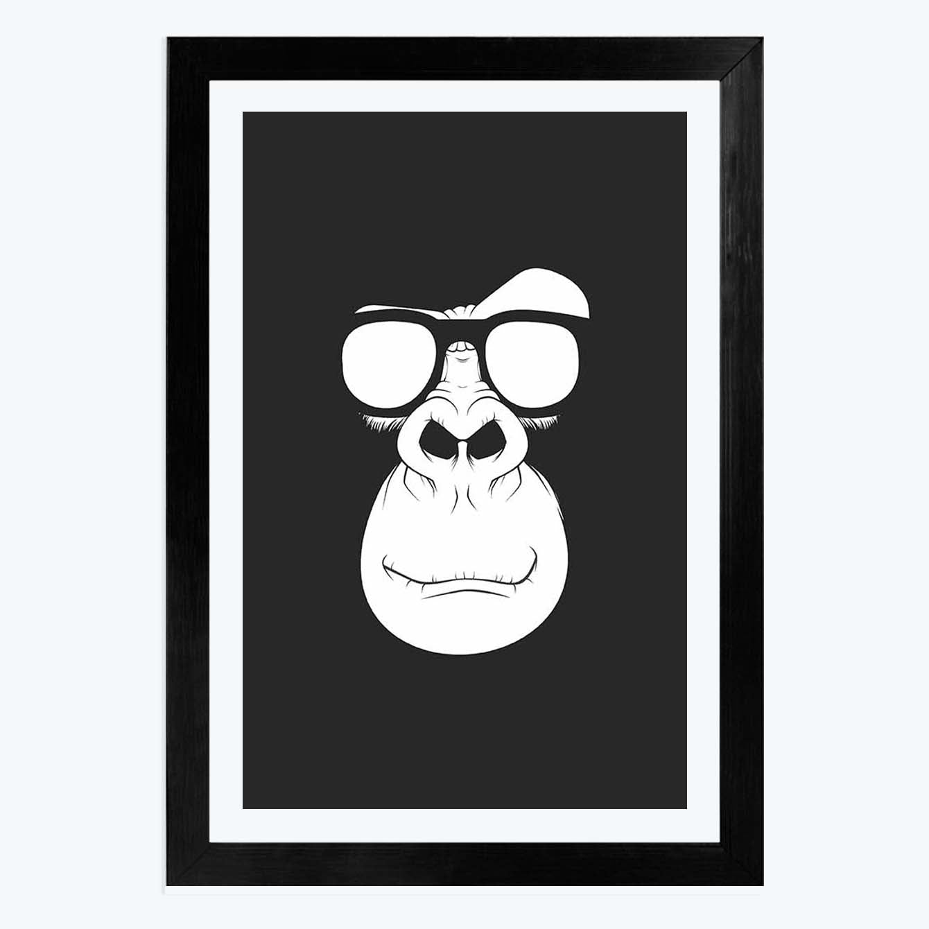 Monkey Glass   Framed Poster