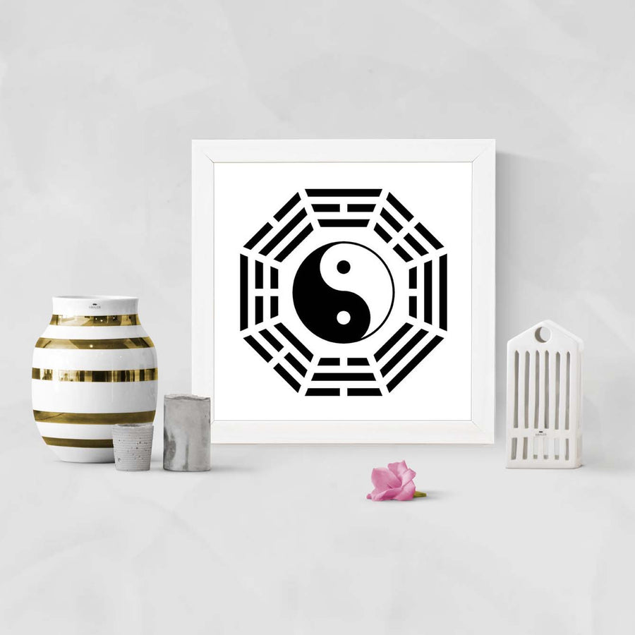 Ying Yang Sign Glass Framed Posters & Artprints