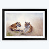 Couple Tiger Abstract Glass Framed Painting