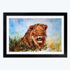 Water colour Lion Animal Glass Framed Painting