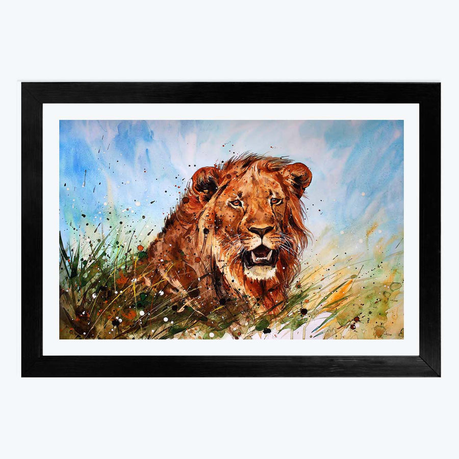 Water colour Lion Framed Painting