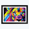 Pop art Lion Pop Art Glass Framed Painting