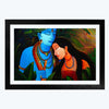 Krishna and Radha Spiritual Glass Framed Painting