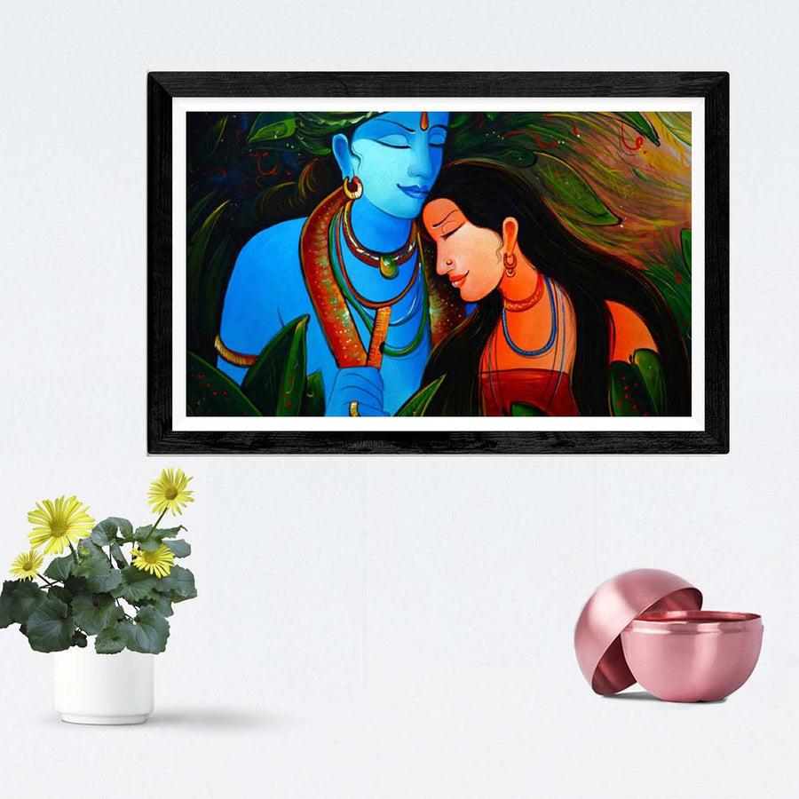 Krishna and Radha Framed Painting