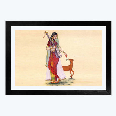 Indian Lady Music Glass Framed Painting