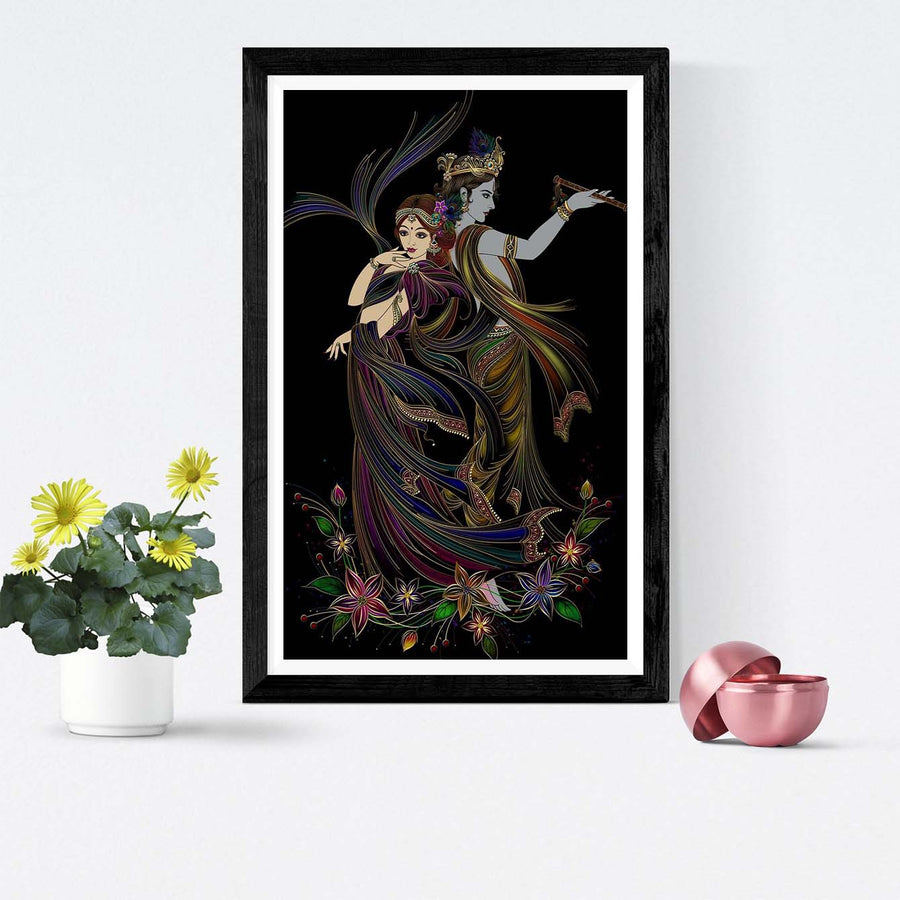 Radha Krishna Black Framed Painting