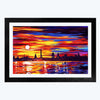 Colorful Oil  Glass Framed Painting
