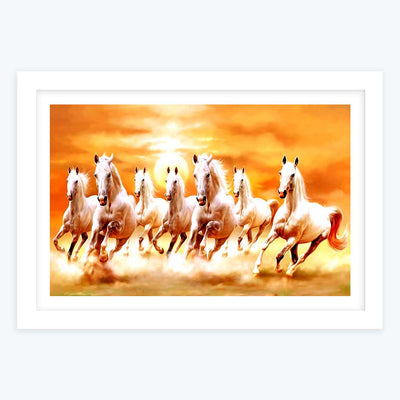 Seven Running Horses Framed Painting