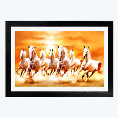 Seven Running Horses Animal Glass Framed Painting