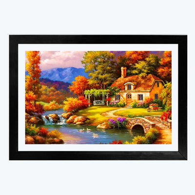 Scenario House  Glass Framed Painting