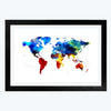 World Map Cities Glass Framed Painting