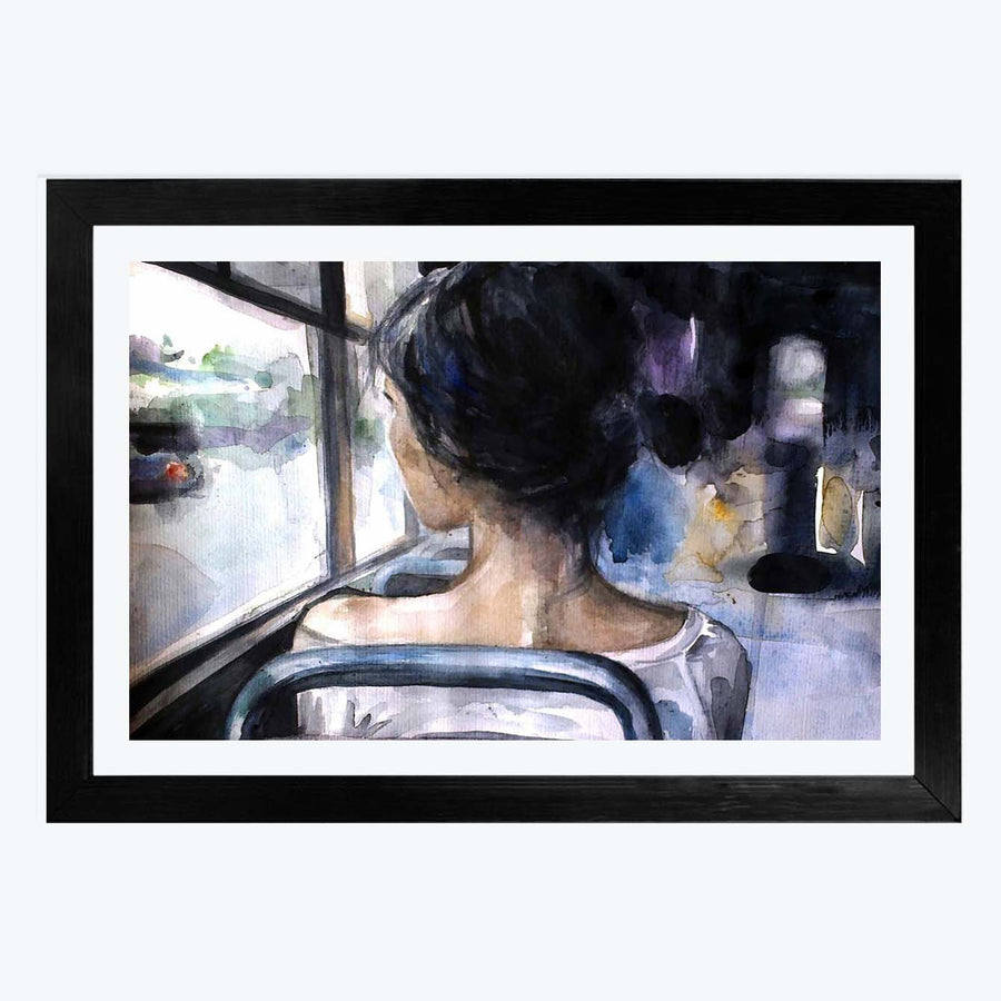 Alone Girl Framed Painting