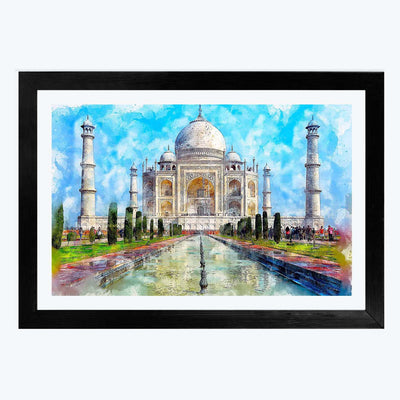 Taj mahal  Glass Framed Painting