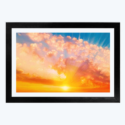 Rising Sun  Glass Framed Painting