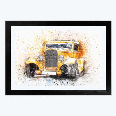 Classic Car Bike Glass Framed Painting