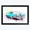 Blue Car Bike Glass Framed Painting