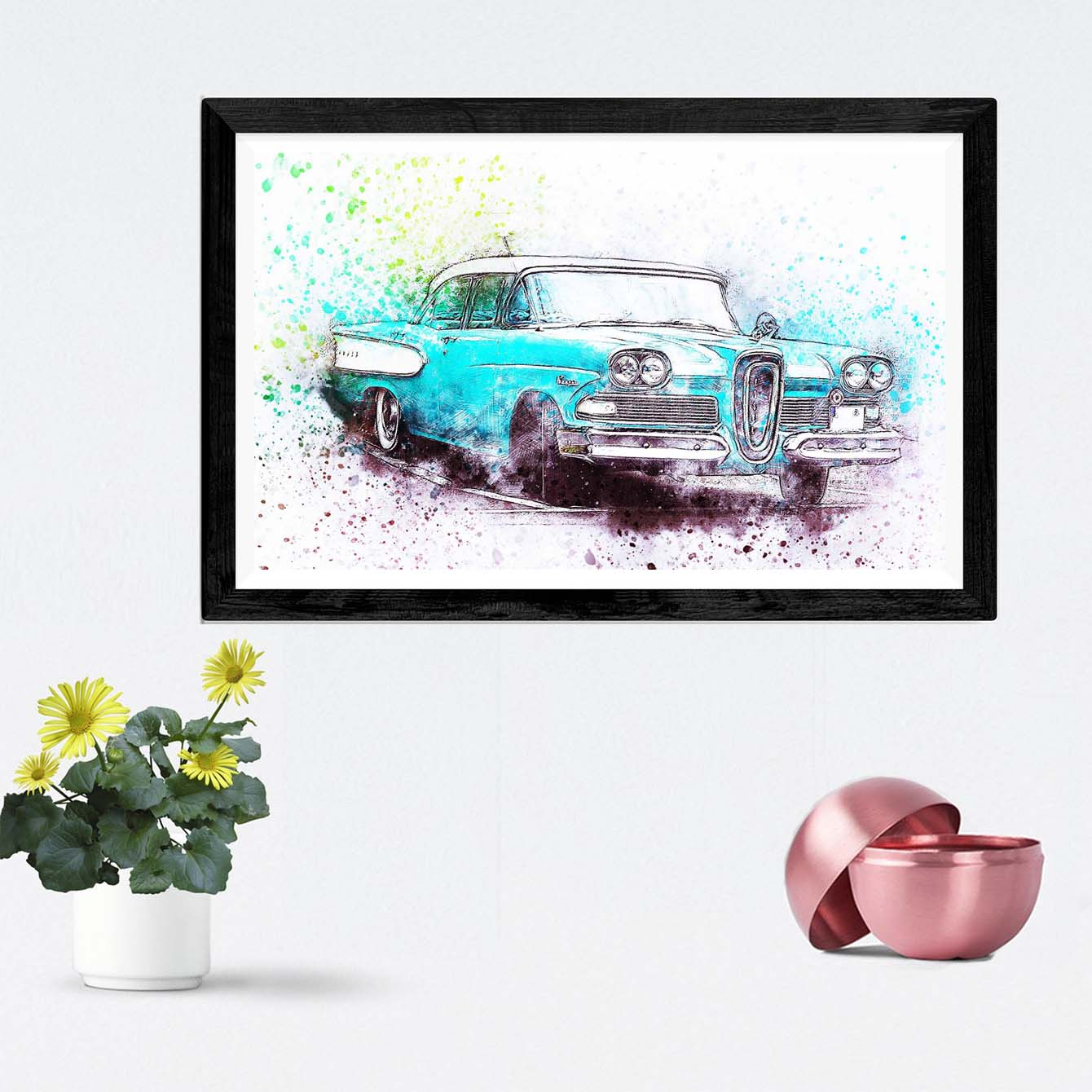 Blue Car Framed Painting