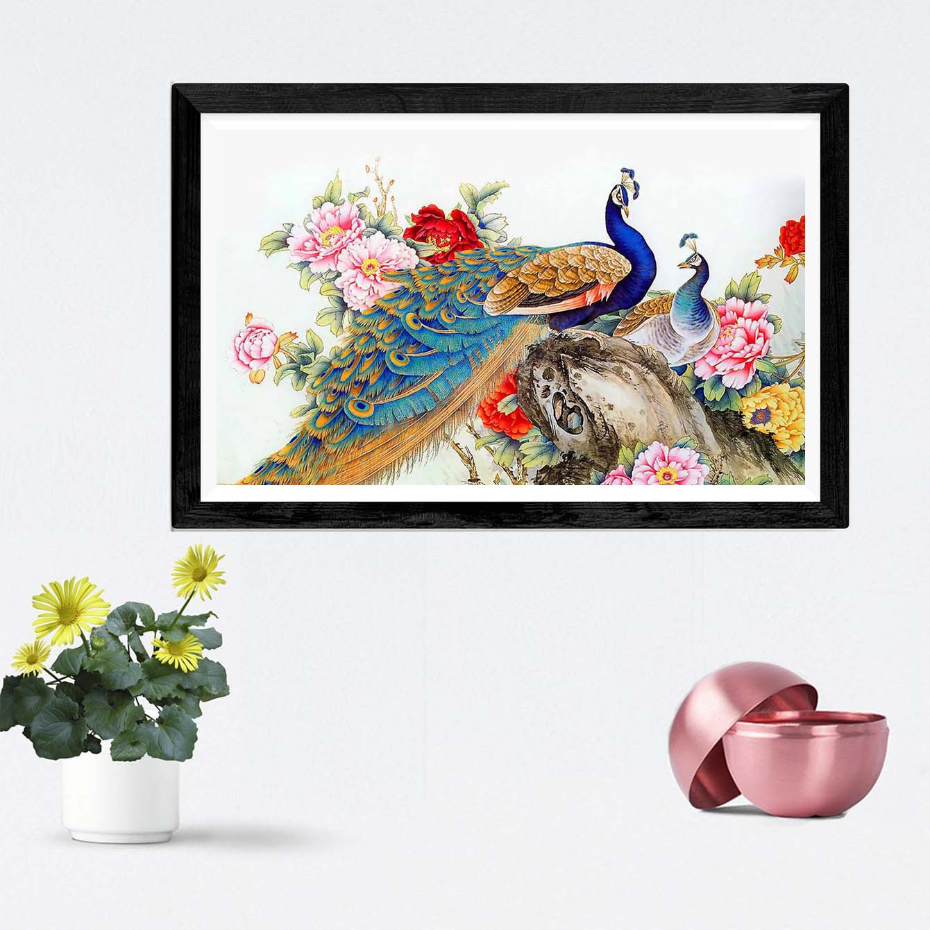 Colorful Peacock Framed Painting