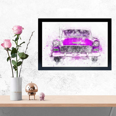 Pink Classic Car Framed Painting