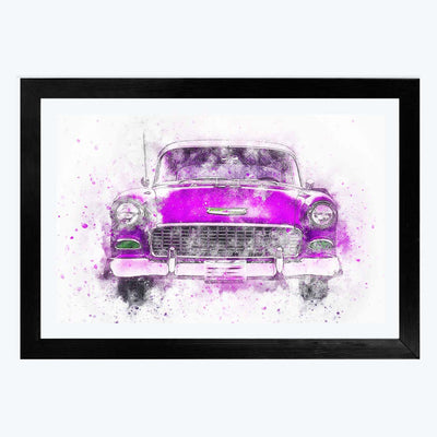 Pink Classic Car Bike Glass Framed Painting