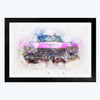 Old Pink Classic Car Bike Glass Framed Painting