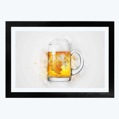 Beer Alcohol Glass Framed Painting